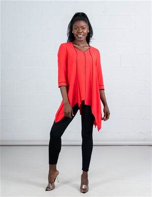 Coral Red Tunic Top