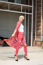 Red Floal Long Duster with Pant 2pc Set