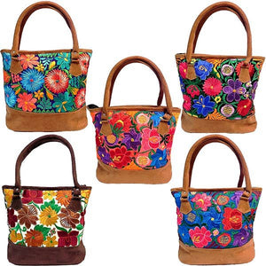 Vegan Leather, Flower Embroidered Tote Purse