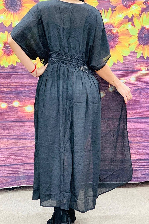 Solid black full length duster w/ lace detail