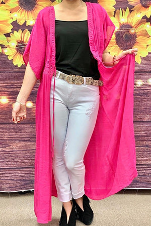 Solid Fuchsia full length duster w lace detail