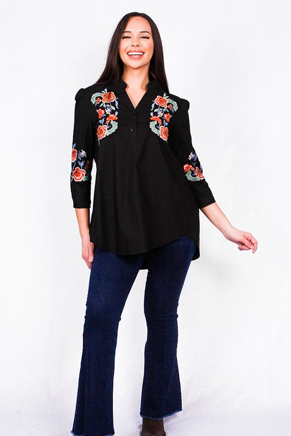 Black Embroidery Beaded Blouse