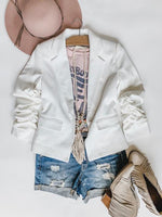 White Rouched Sleeve Jacket