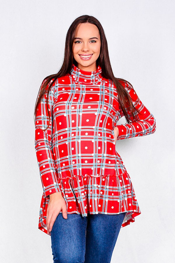 Red Plaid Mock Neck Top w/polka dot print