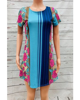 Multicolor striped dress w floral print