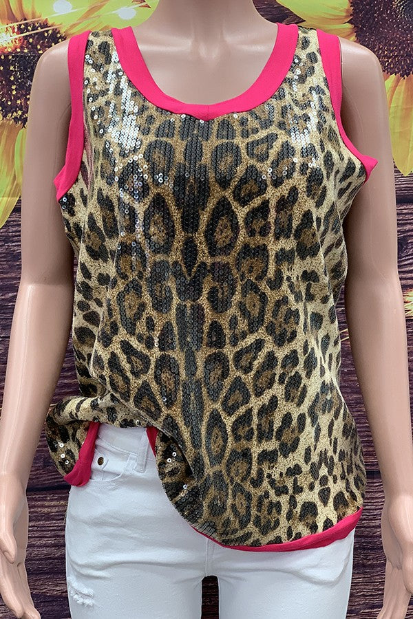 Leopard sequin tank top with pink trim