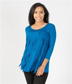 Royal Blue Fringe Front Top