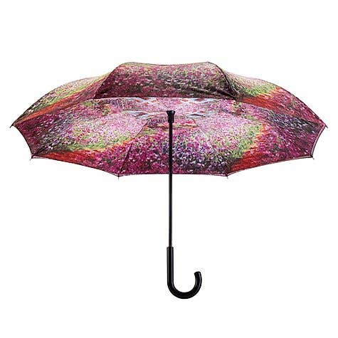 Monet's Garden Stick Umbrella Reverse Close