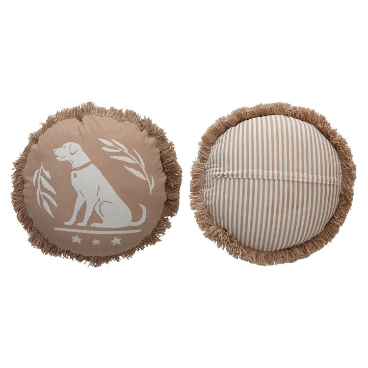 "16"" Round Cotton Printed Pillow with Striped Back, Dog & Fringe, Tan"