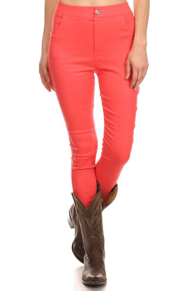 Coral Stretch Jeggings