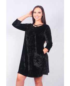 Solid black 3/4 sleeve velvet dress with criss cross neckline