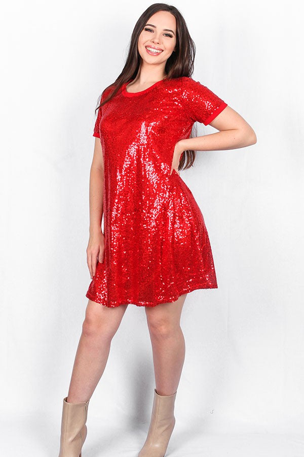 Red Sequin Short Sleeve Dress