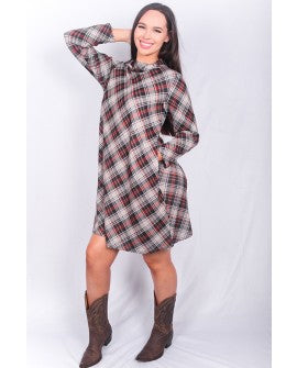 Plaid Mock Neck Dress w/pockets