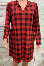 Buffalo Plaid Dress with Ruffle Neck