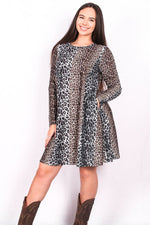 Multi color leopard print long sleeve dress