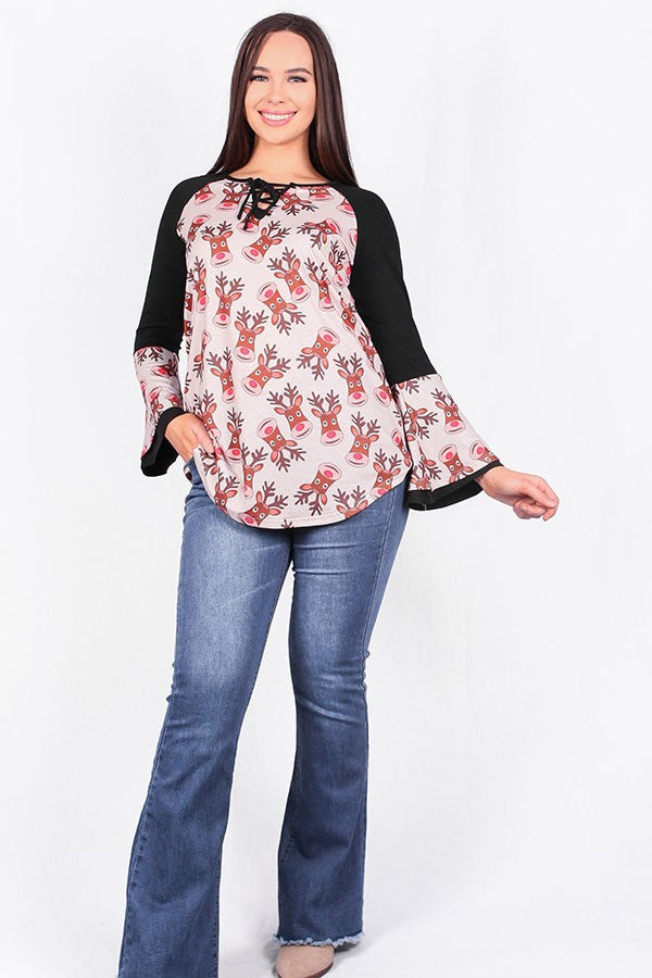 Rudolph Printed Bell Sleeve Top