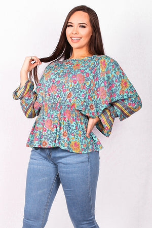 Multi-color floral printed long sleeve blouse