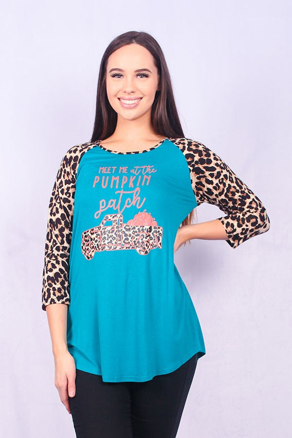 ''Meet me at the pumpkin patch'' leopard print graphic tshirt