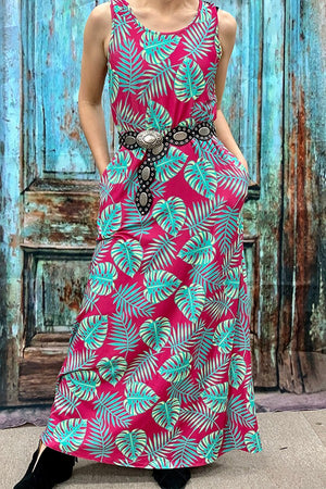 Fuchsia tropical leaf maxi dress