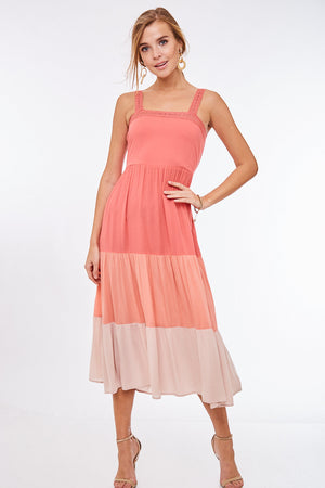 Coral sleeveless layered ombre dress