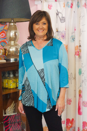 Turquoise  Patchwork Knit Asymmetrical Tunic Top