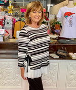 Black and White Striped Top w ruffle bottom