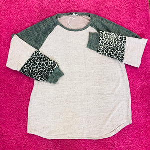 Dust pink, leopard, and gray sleeve top