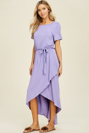 Lavender tie front dress