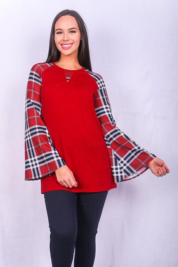 Burgundy top with plaid flare sleeves