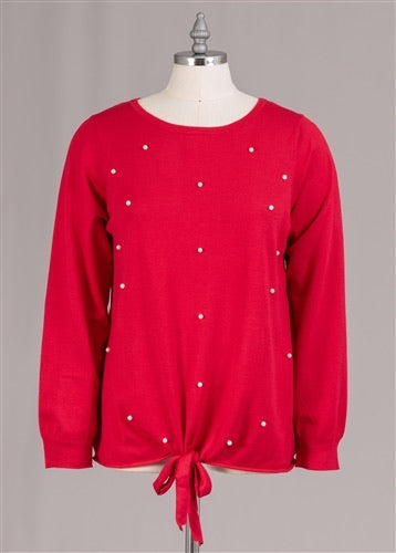 Red Pearl Trim Tie Front PlusSize Sweater