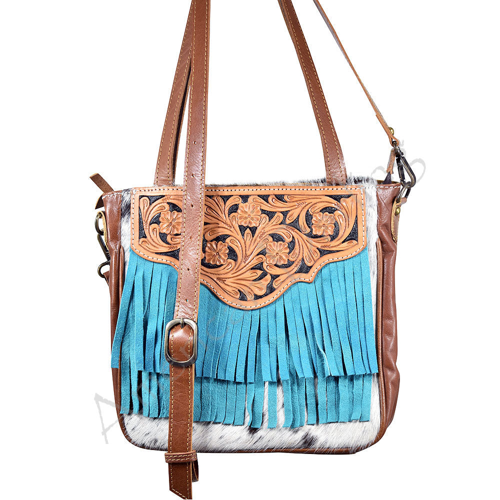 Turquoise Trim Brown Cowhide Purse
