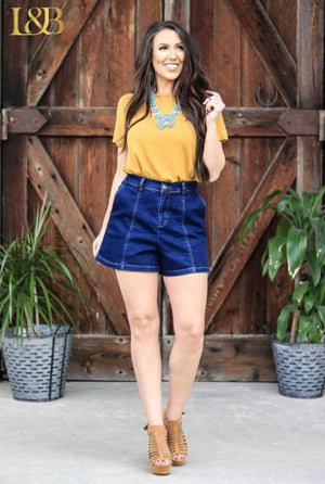 Mid-thigh Denim Stretch Shorts