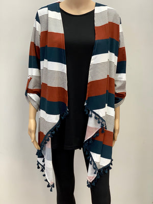 Striped cardigan with tassels