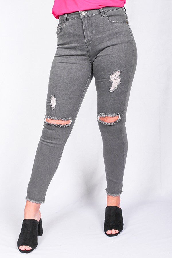 Gray Washed out distressed jean