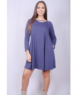 Blue Pocket Dress with Neck Piece