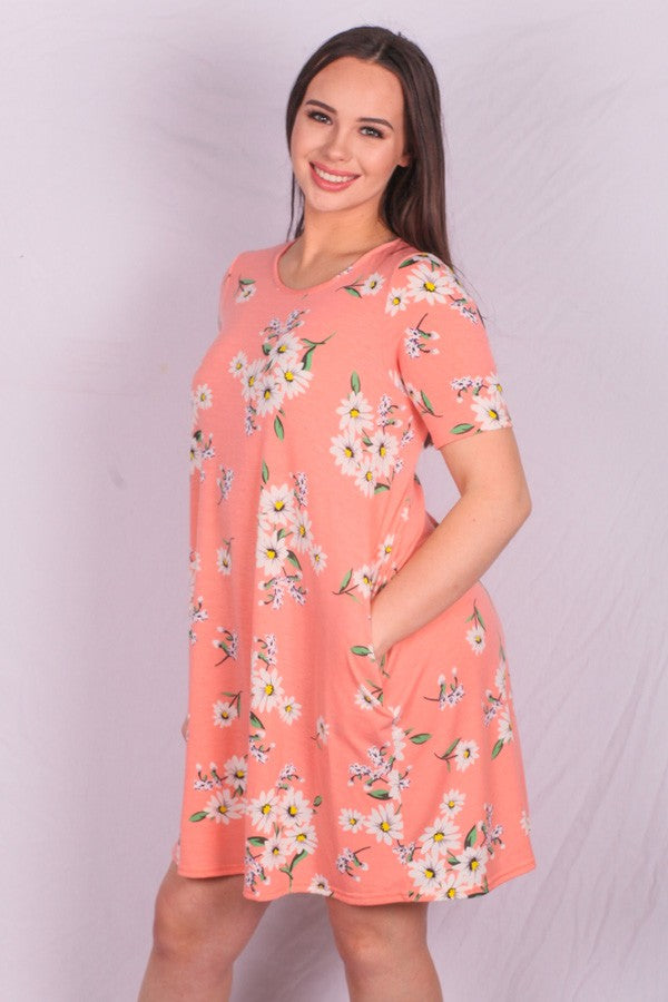 Pale Pink Floral Pocket Dress