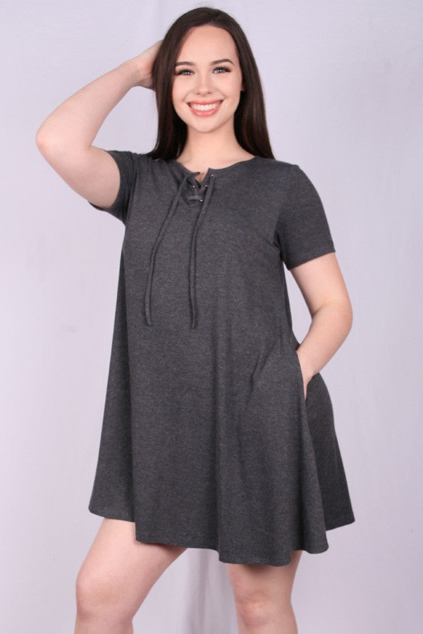 Gray Stretch Pocket Dress