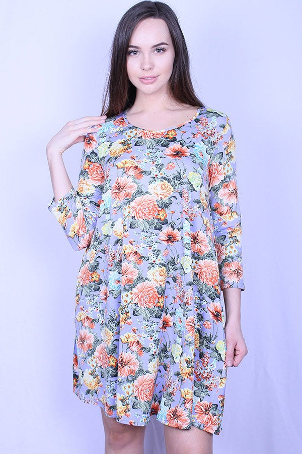 Cornflower Blue Floral Pocket Dress
