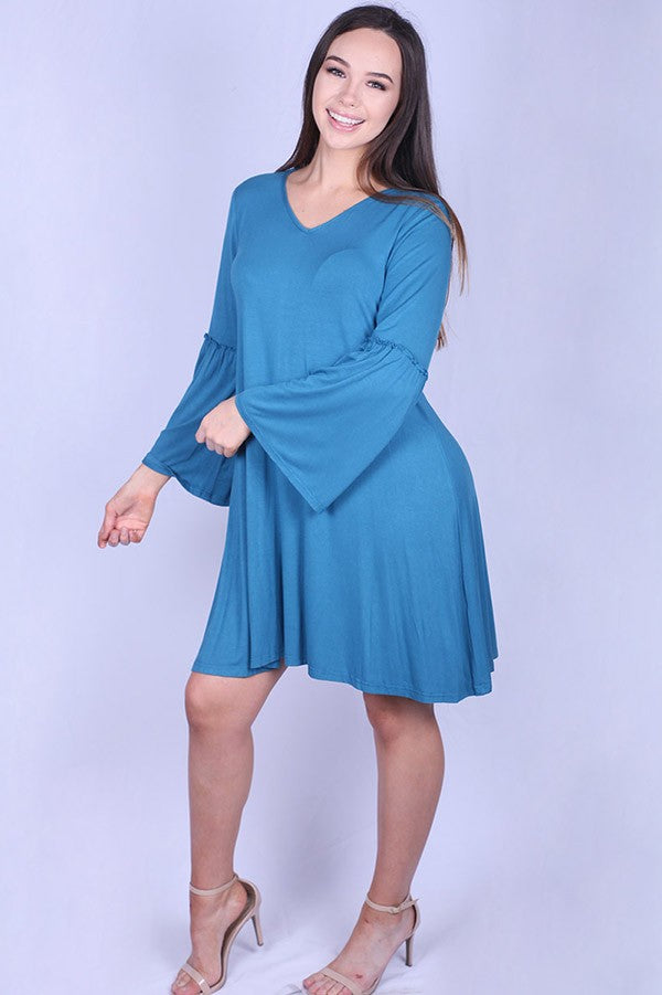 Teal Blue Bell Sleeve Dress