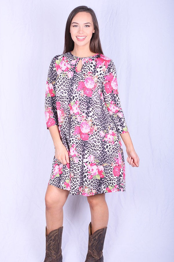 Gray Leopard and Pink Floral Pocket Dress