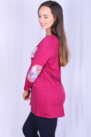 Long Sleeve Pink T w/print pocket and elbow patch