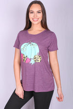 Purple T-Shirt with Turquoise and Leopard Pumpkins