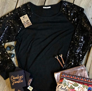Black Long Sequin Sleeve Top