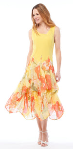 Yellow Floral Bottom Bubble Dress