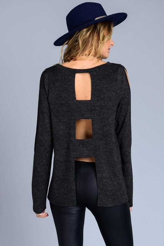 Navy Cold Shoulder Sweater