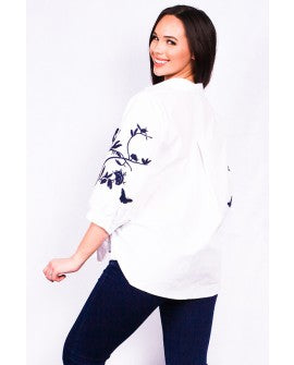 White and Navy Embroidered Top