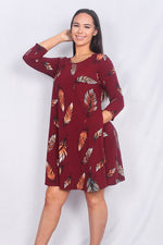 Burgundy feather printed dress