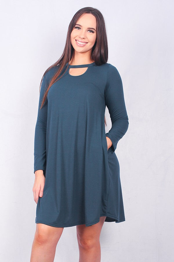 Teal green key hole pocket dress