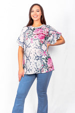 Gray snake pink floral top