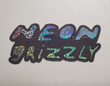 Neon Grizzly Logo - LEGENDARY LARGE GLITTER STICKER
